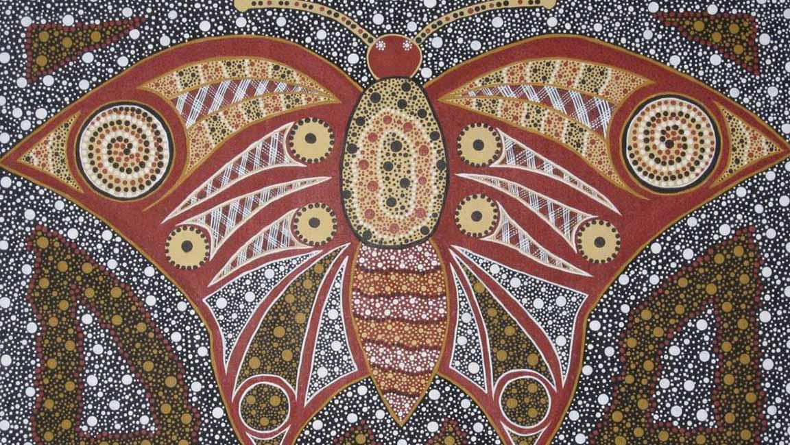Aboriginal dot painting of moth